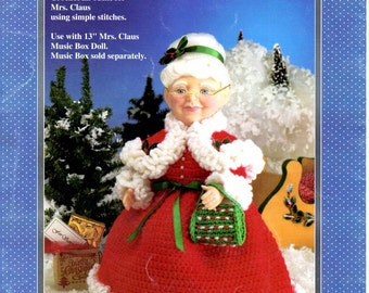Mrs. Claus Crochet 13 Thirteen Inch Music Box Doll Christmas Outfit Red Dress Ruffled Edge Shawl Green PUrse Craft Pattern Leaflet FCM311