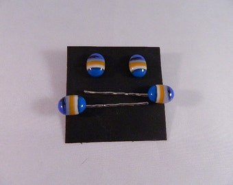 Fused Glass Hair Bobbies set of 2 and Matching Post Earrings