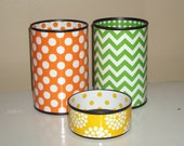 Funky Bright Desk Accessories - Pencil Holder - Orange, Green and Yellow Polka Dots, Chevron and Floral Desk Accessory Set - 592