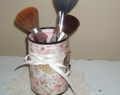 ON SALE!  Make-up Brush Holder, Pencil Holder, Pink and Tan Floral Decorative Can, Gift for her, Bathroom Decor, Vanity Organizer - 431