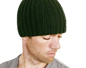 Chris Mens Beanie Hat Hand Knit Rib Cap Forest Green M L XL Gift Wrapped