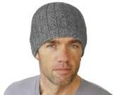 Mens Beanie Gray Taylor Cable Hat Mans Hand Knit Cap Knitted Peruvian Wool Boyfriend Size M L Gift Wrapped