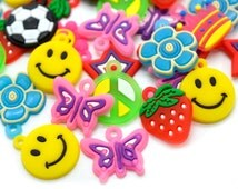 Rubber Band Charms, 18pcs, Mixed Style, Rubber Bracelet Charms, Pvc Charms - P162