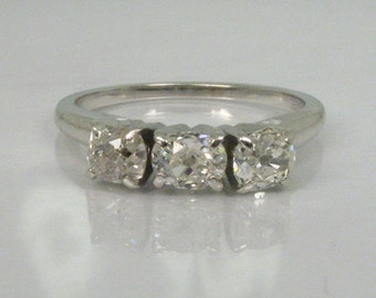 Vintage Old Mine Cut Three Stone Engagement Ring or Wedding Ring - Jabel 18K - 0.90 Carats - Appraisal Included