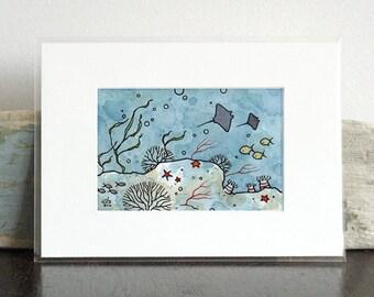 Sting rays underwater ocean art, kids room mini print, ocean nursery wall art