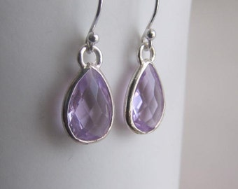 Sterling Silver Earrings, Lavender Glass Earrings, Drop Earrings, Dangle Earrings, Jewelry, Gift