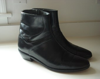 Vintage Black Ankle Boots Beatle Chelsea Women Size 11 Mens 9 Boho 1960's Inspired