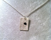 F*CK cancer -- Small Sterling Silver Rectangular pendant (mature language)