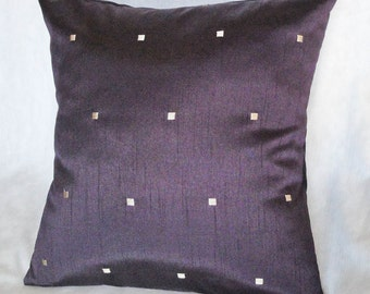 "Purple Pillow cover with gold squares, elegant home decor, 18 inches, 16"", 14"""