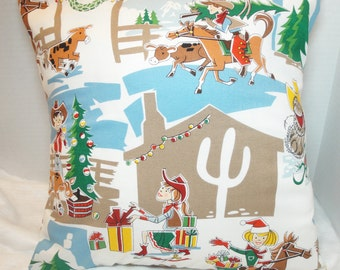 "Cowboy Christmas pillow cover, cowgirl on horse, southwest, western Christmas, 12x16"", 16 inches, 14"", 18"""