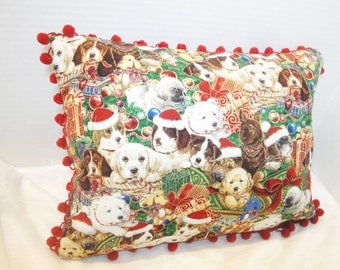 "Dog Christmas Pillow cover, beagle, lab, schnauzer, puppy xmas cushion cover, with ball fringe, 12x16 inches, 14"", 16"""