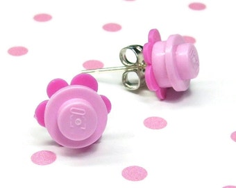 Crazy Daisy Stud Earrings made from LEGO® Pieces - Light Pink and Dark Pink