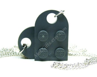 Dark Gray Heart Necklace made from LEGO (r) Heart Pieces