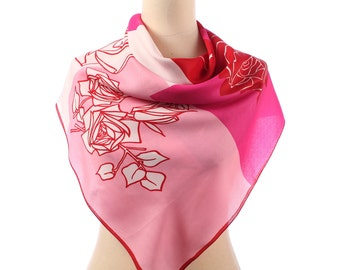 ROSES Print Floral Scarf . Woman Vintage Shawl RED White Pink Pop Art Andy Warhol Square Bold Flowers Printed Womens Gift Retro Muffle