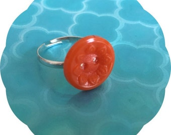 Orange party  vintage button  ring