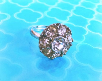 Glitter  rhinestone button ring