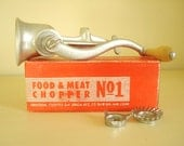 Universal Food & Meat Chopper No. 1, mid-century grinder, original box, cooking tool, chef's equipment, wood and cast iron, gifts for cooks