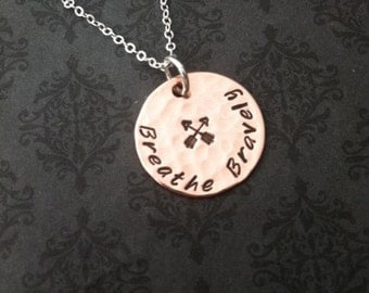 Hand Stamped Jewelry - BREATHE BRAVELY Necklace for Cystic Fibrosis Research