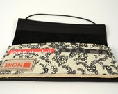 Black and white leather wallet with silk screenprint