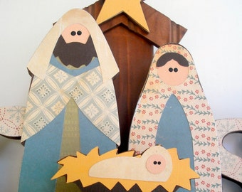 Nativity, Joseph, Mary, Jesus & Stable