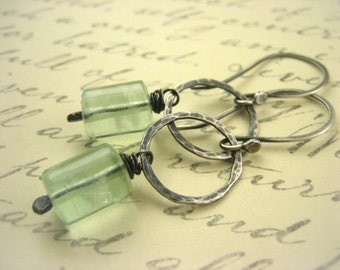 Earthy Sea Foam Green fluorite Gemstone Dangle Earrings gray oxidized nature inspired Spring green