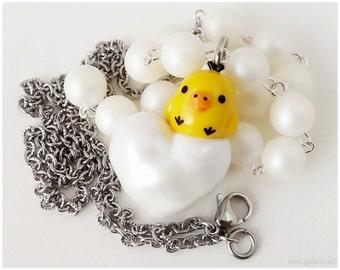 Rilakkuma Kiiroitori White Pearl Necklace, Stainless Steel Chain - Sweet Lolita, Kawaii Jewelry