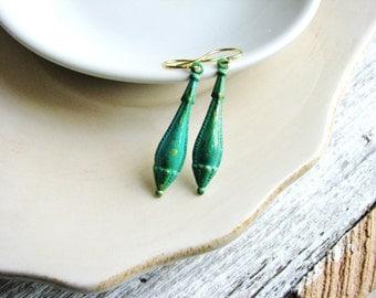 Drop Earrings Victorian Drop Earrings Verdigris Earrings Long Dangles Under 10 For Her Gift Patina Earrings Green Earrings Minimalist