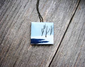 Winter Art Necklace Hand Painted Artwork Illustrated Art Nature Scene Trees Snow Nature Inspired Naturalist Fashion Unique Jewelry
