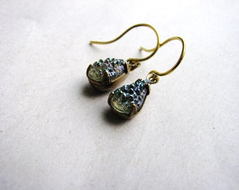 Sugar Stone Jewel Earrings Vintage Cut Gems Blue Green Tear Drop Gold Filled Estate Style Minimalist Modern Bridal Jewelry Sparkly