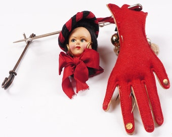 Vintage Felt Doll Head with Glove Pin Cushion and Hat Pins - Lenci Style