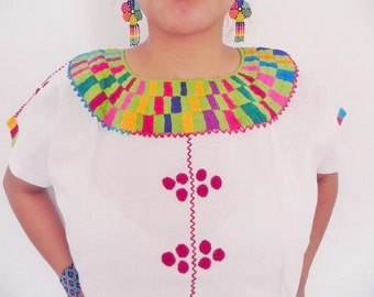 Mexican Top Blouse Green Color Comfortable Embroidered cotton M / L