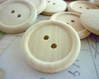 Wooden Buttons, One Inch Round Wood Buttons - 25mm - Pack of 30