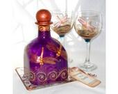 Dragonfly Decanter Bottle Hand Painted Custom Designed Art on Glass 5 Piece Set