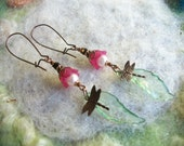 Garden Dragonfly Earrings, Pink Pixie Flower and Leaf,