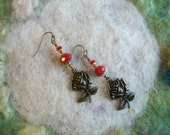Rose Earrings, Red Crystal Beads, Valentine/Garden/Nature