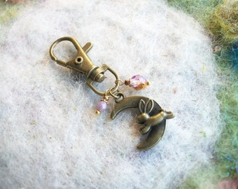Zipper Pull, Antique Bronze with Beaded Charms, Bunny Moon
