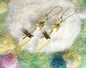Garden Dragonfly Earrings, Moss Flower and Leaf,