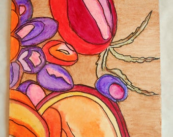 """Abstract Painting Gold  Red  Orange Purple 8 x 10"""""""