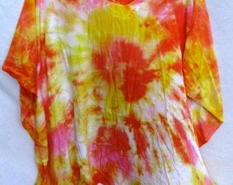 CLEARANCE Caftan Poncho Coverup Yellow Orange Fuchsia Tie Dye BlueMoonstone