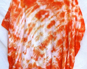 CLEARANCE Caftan Poncho Coverup Tangerine Orange Creamcicle Tiedye Bellydance Beach BlueMoonstone