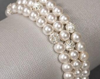 Three Strand Pearl Wedding Bracelet, Faux Pearl Bridal Jewelry, Swarovski Pearl and Rhinestone Multi Strand Bracelet, Wedding Jewelry