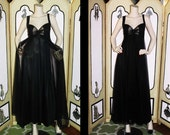1960's Black Nightgown with Peekaboo Bust and Sheer Overlay. Small 36.