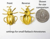 Lot of 10 Large Raw Brass Beetle Insects 3D bug stampings with small rhinestone settings Lot 28mm x 34mm Lead-free Raw Brass Made in USA