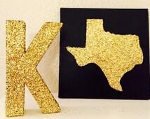 Glitter Texas Canvas, State of Texas Canvas, Black and Gold Texas Canvas, Texas Canvas Art, Texas Painted Canvas, Glitter Texas gift