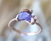 Rough Tanzanite 14K Rose Gold Ring, Stacking Ring, Gemstone Ring, Statement Ring, Eco Friendly, Engagement Ring - Ship In The Next 9 Days