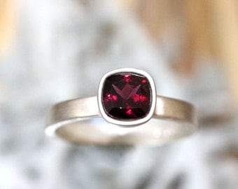 Rhodolite Garnet Sterling Silver Ring, Gemstone RIng, Cushion Shape Ring, Eco Friendly, Engagement Ring, Stacking Ring - Made To Order