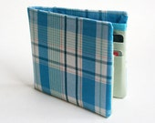 Mens wallet, Wallet, Billfold, Vintage Upcycled Fabrics, Turquoise plaid, Handmade by Knotted Nest on Etsy