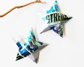 Sugar Free Blue Streak Stars Christmas Ornaments Energy Drink Can Upcycled