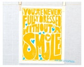 You're Never Fully Dressed without a Smile, Wall Art, Modern Nursery Decor, Tomorrow