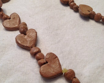 Clay Heart Necklace Natural
